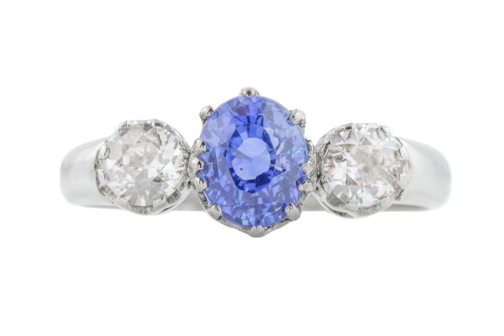 14ct Gold Sapphire Diamond Trilogy Ring