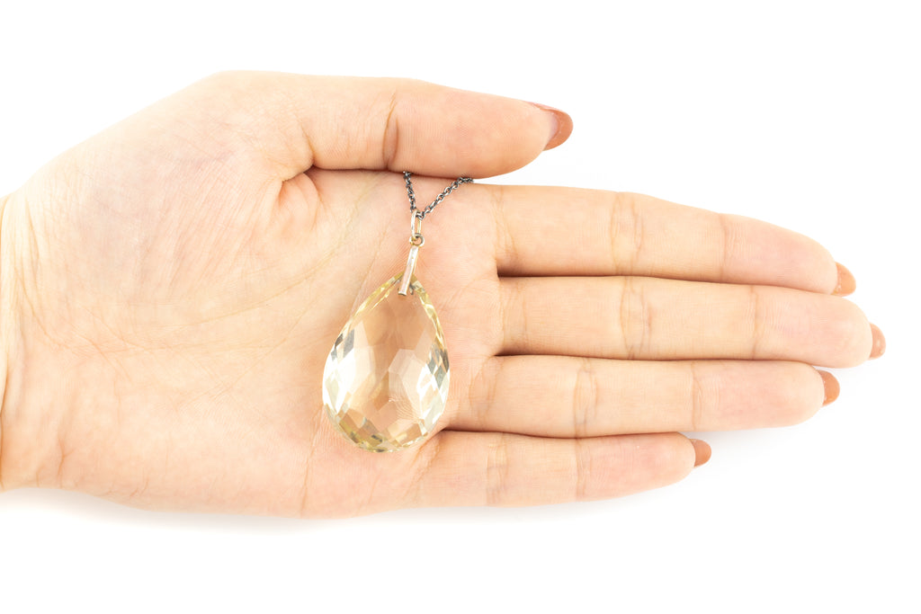 "Art Deco Citrine Drop Pendant (49.88ct), with Adjustable 16"" or 18"" Chain"