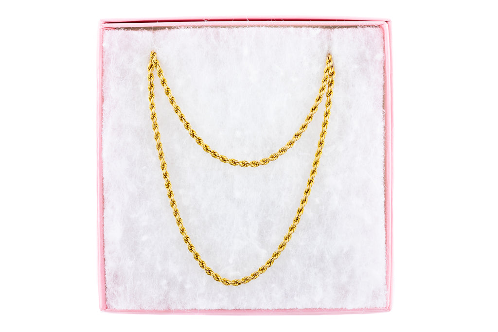 "Victorian Gold Long Rope Necklace, 58 & 1/2"" (26g)"