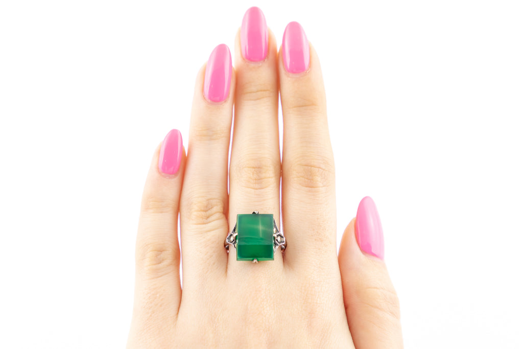 Art Deco Marcasite Chrysoprase Statement Ring