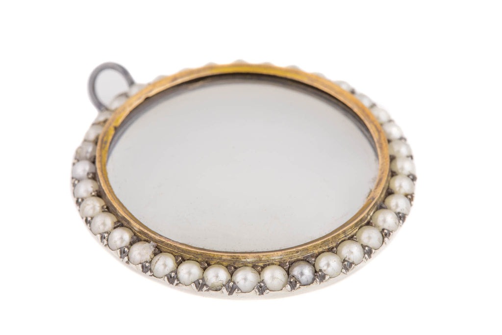 Antique Silver Gold Pearl Shaker Locket