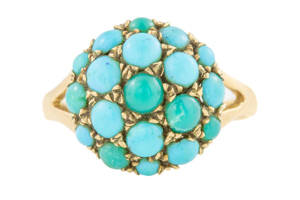 Antique Gold Turquoise Cluster Ring, c.1864
