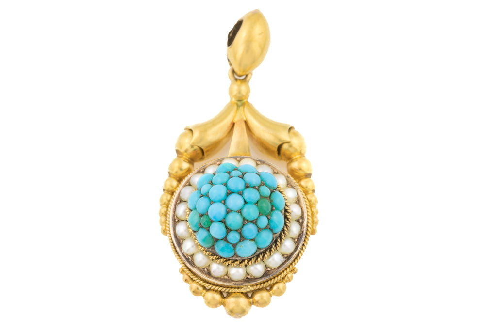 Antique 18ct Gold Turquoise Pearl Pendant