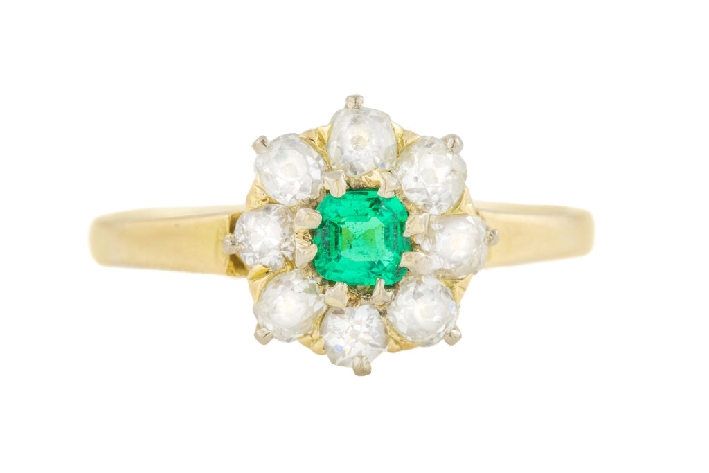 Antique 18ct Gold Emerald Diamond Ring