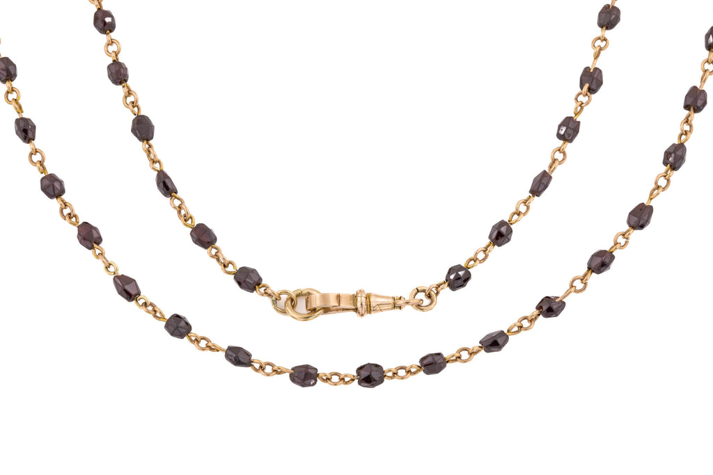 Antique Gold Garnet Chain Necklace, 29""
