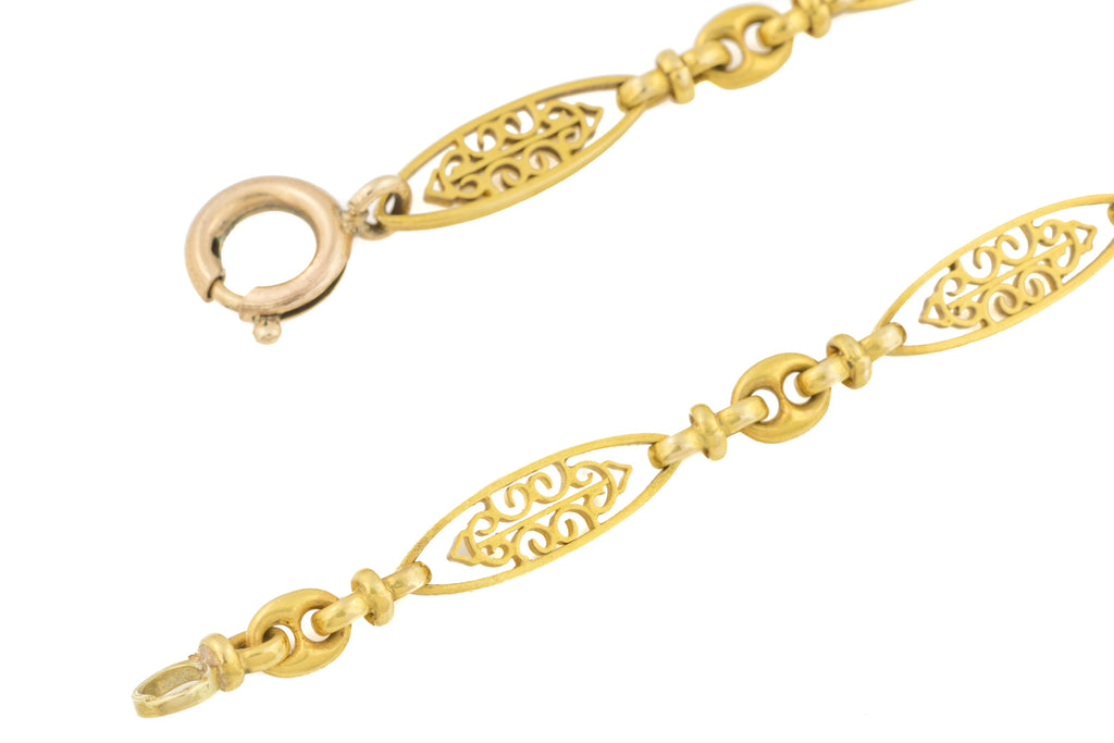 "Antique 18ct Gold Filigree Bracelet, 7 & 1/2"" (7.7g)"