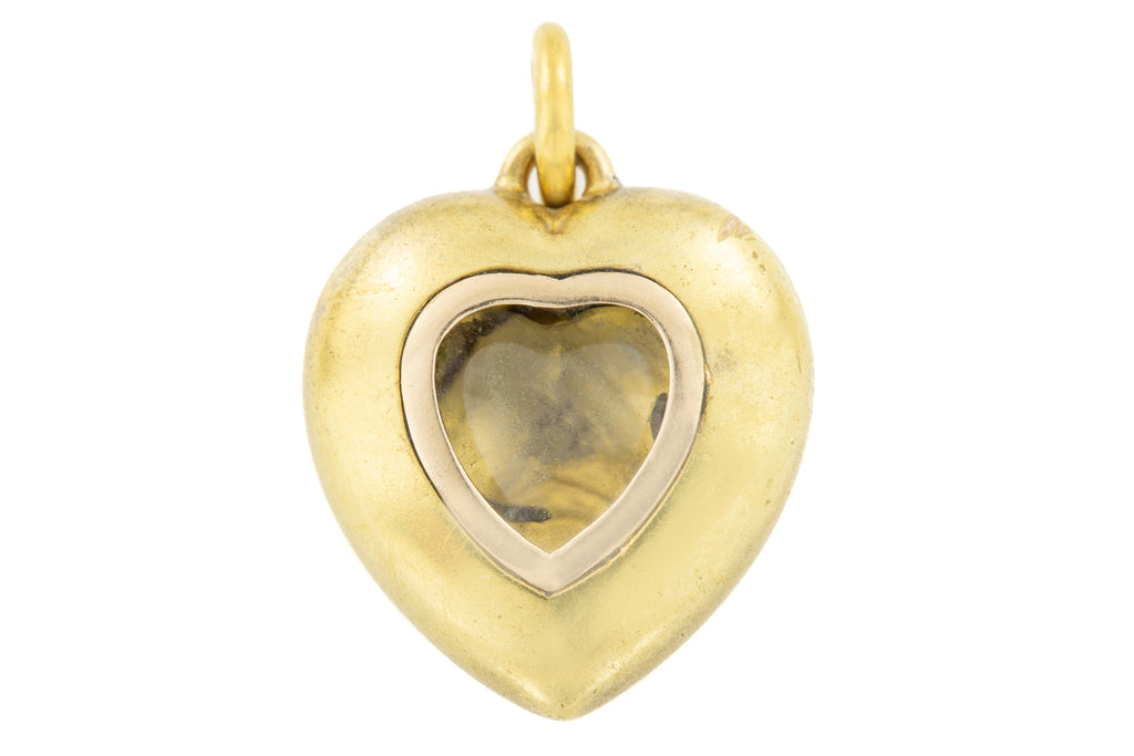 Antique 18ct Gold Pearl Pendant with Locket Back