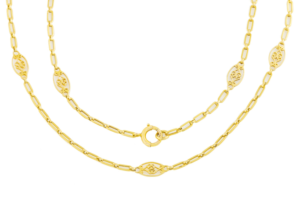 "Antique French 18ct Gold Fancy Necklace, 36"" (14.5g)"