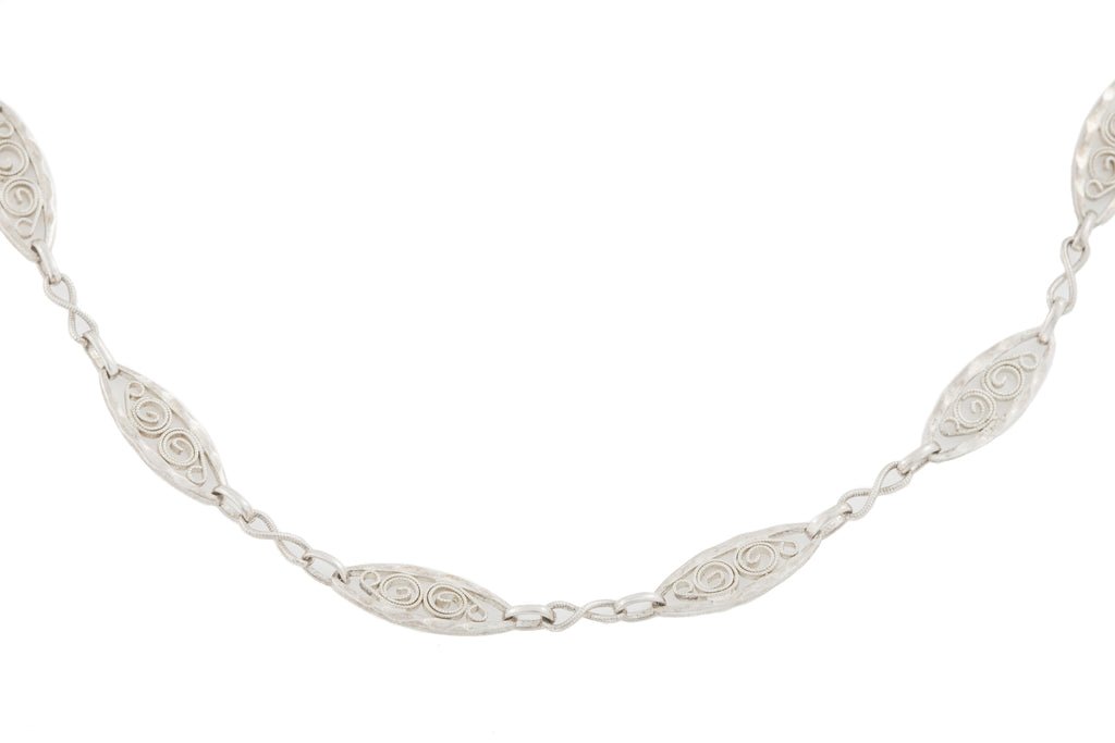 Arts and Crafts Silver Necklace, 27""
