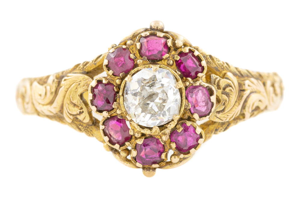 Early Georgian 15ct Gold Ruby Diamond Ring