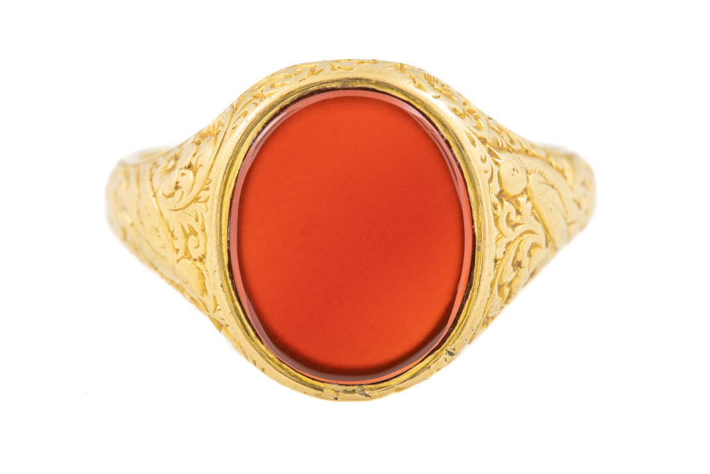 Antique 18ct Gold Carnelian Signet Ring c.1874