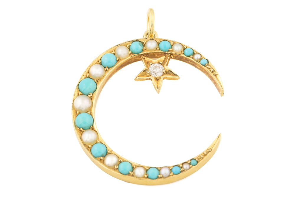 Antique 18ct Gold Crescent Moon Pendant with Turquoise Pearl and Diamond