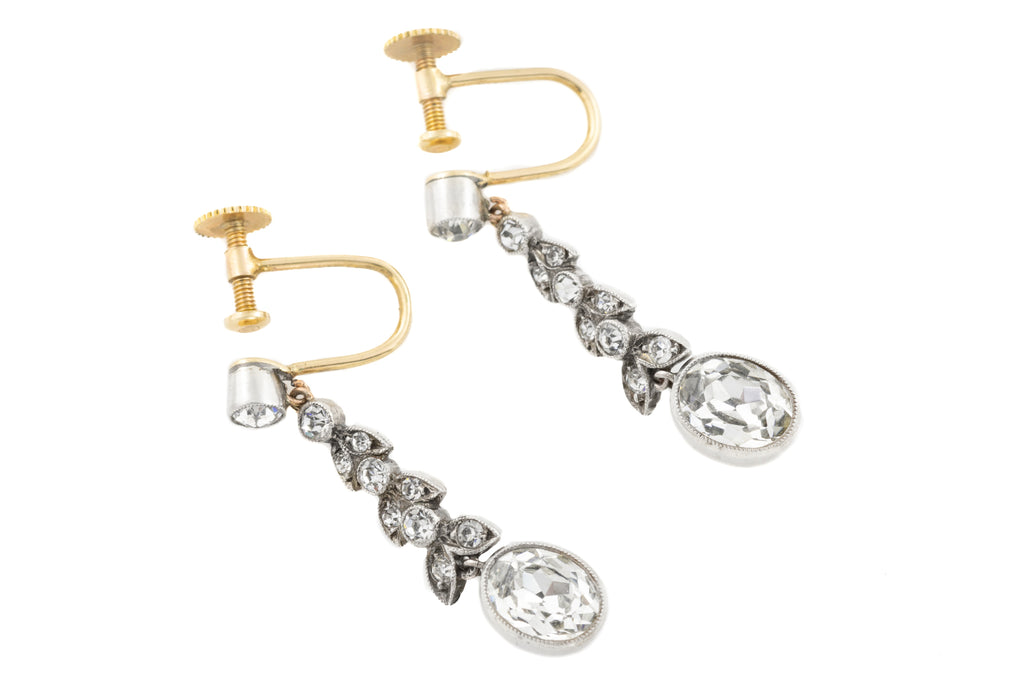 Edwardian Gold Paste Droplet Earrings