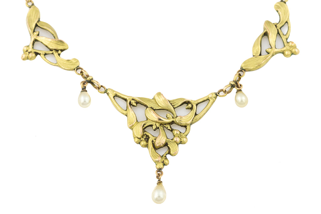 Antique French 18ct Gold FIX Mistletoe Necklace