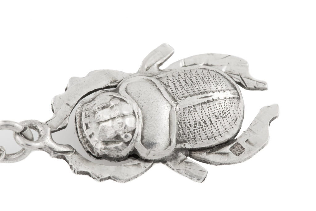 Antique Silver Scarab Beetle Pendant