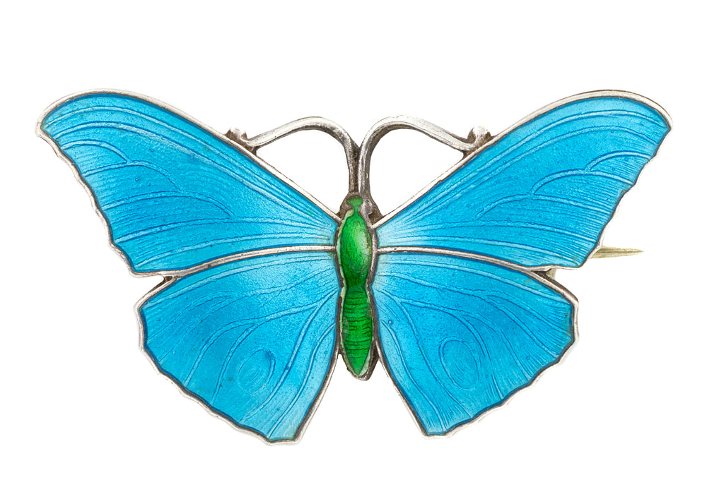 "Antique Azure Enamel Butterfly Brooch, ""JA&S"""
