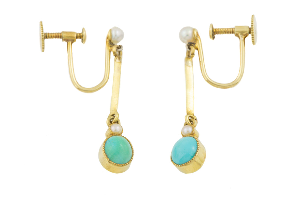 Antique 15ct Gold Turquoise Pearl Drop Earrings