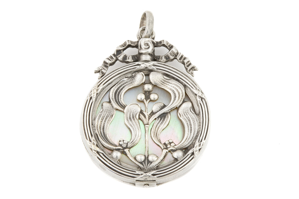 Art Nouveau Silver Mother of Pearl Locket