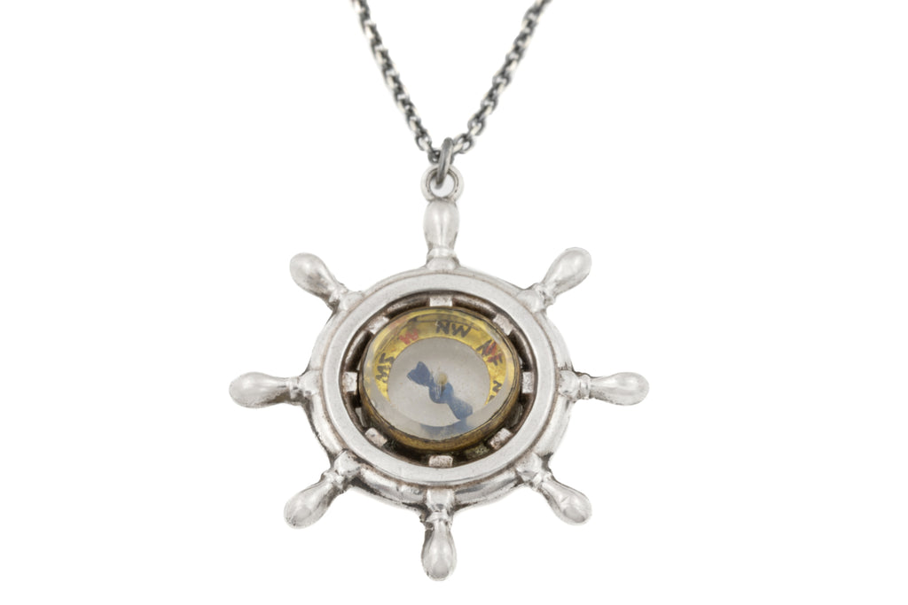 "Edwardian Silver Compass Pendant, with Adjustable 16"" or 18"" Chain"