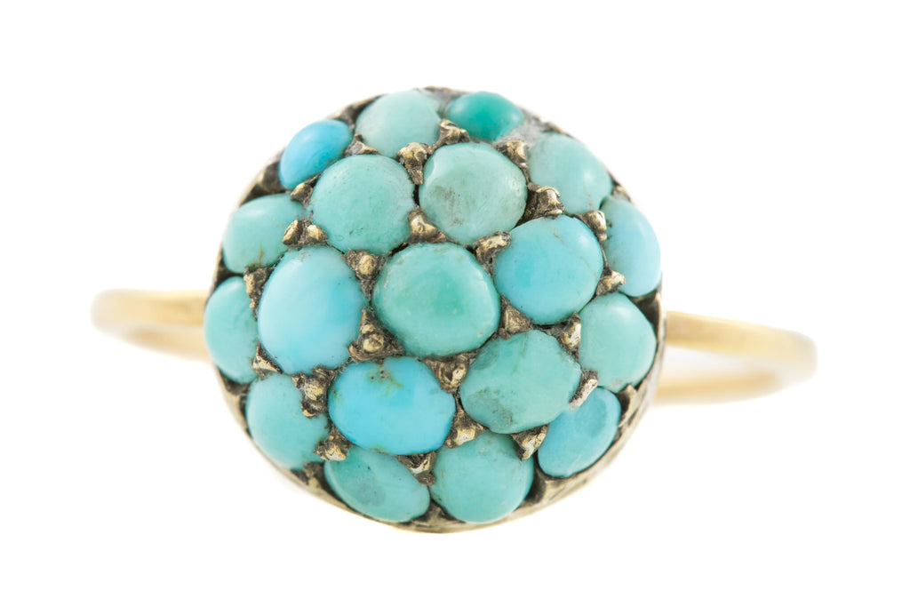 Antique Turquoise Gold Cluster Ring