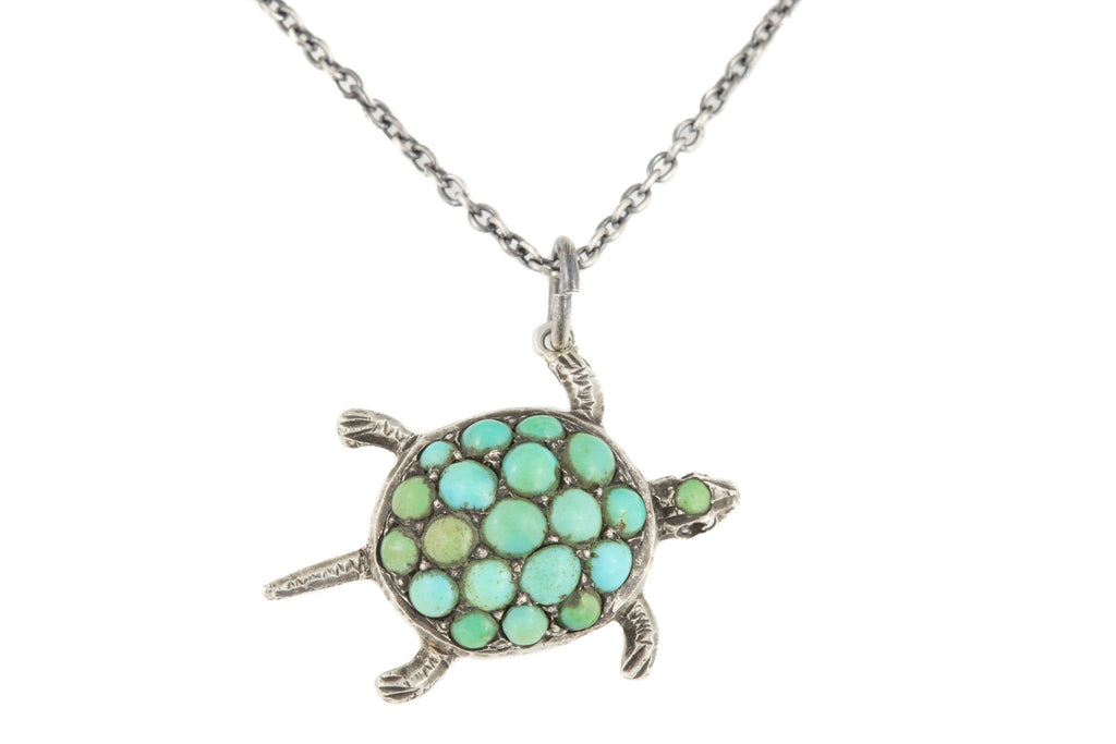 "Antique Silver Turquoise Turtle Pendant, with Adjustable 16"" or 18"" Chain"
