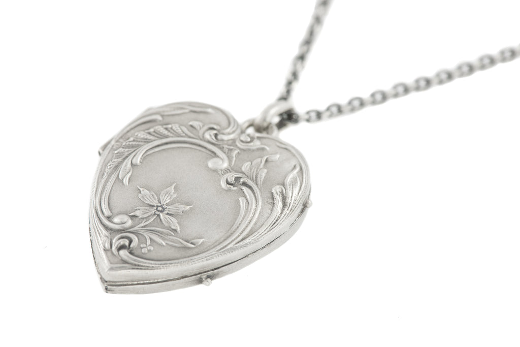 "French Art Nouveau Silver Locket, with Adjustable 16"" or 18"" Chain"