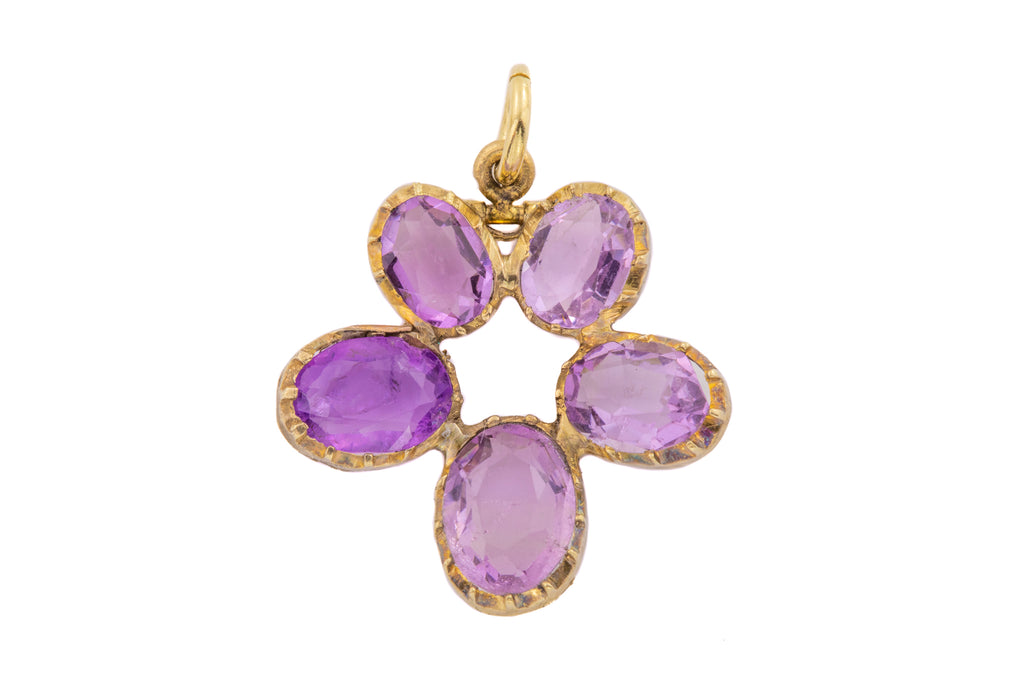 Georgian 12ct Gold Amethyst Pansy Pendant (2.38ct)