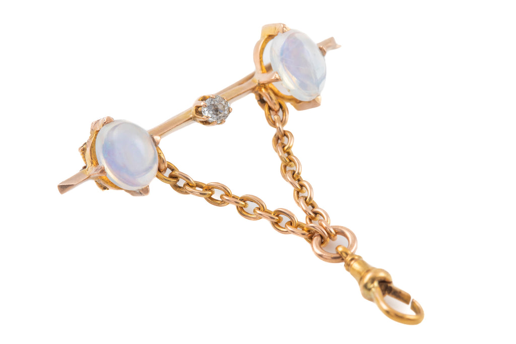 Antique 15ct Gold Opal Diamond Brooch, with Suspended Dog Clip