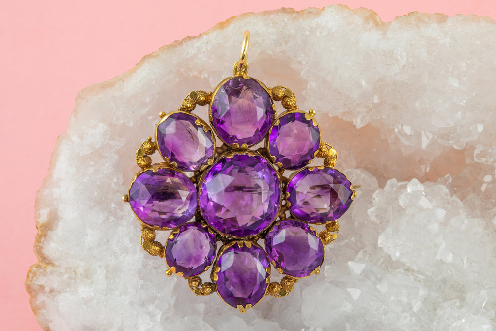 Georgian 18ct Gold Amethyst Flower Pendant Brooch, (23.78ct)
