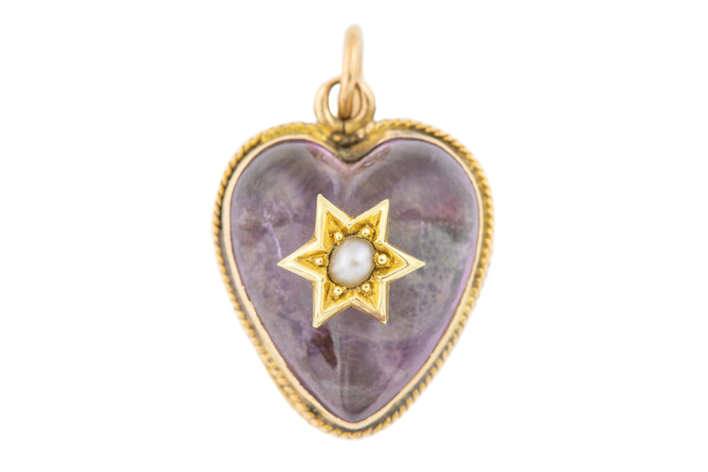 Antique 15ct Gold Amethyst Pearl Heart Pendant