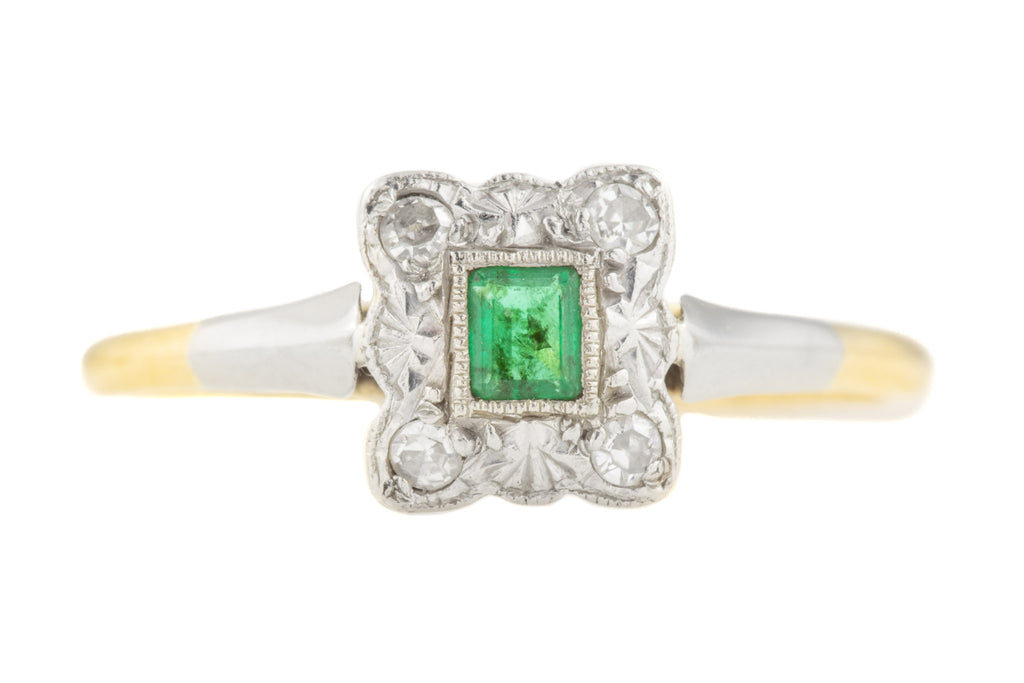 Art Deco 18ct Gold Emerald Diamond Cluster Ring