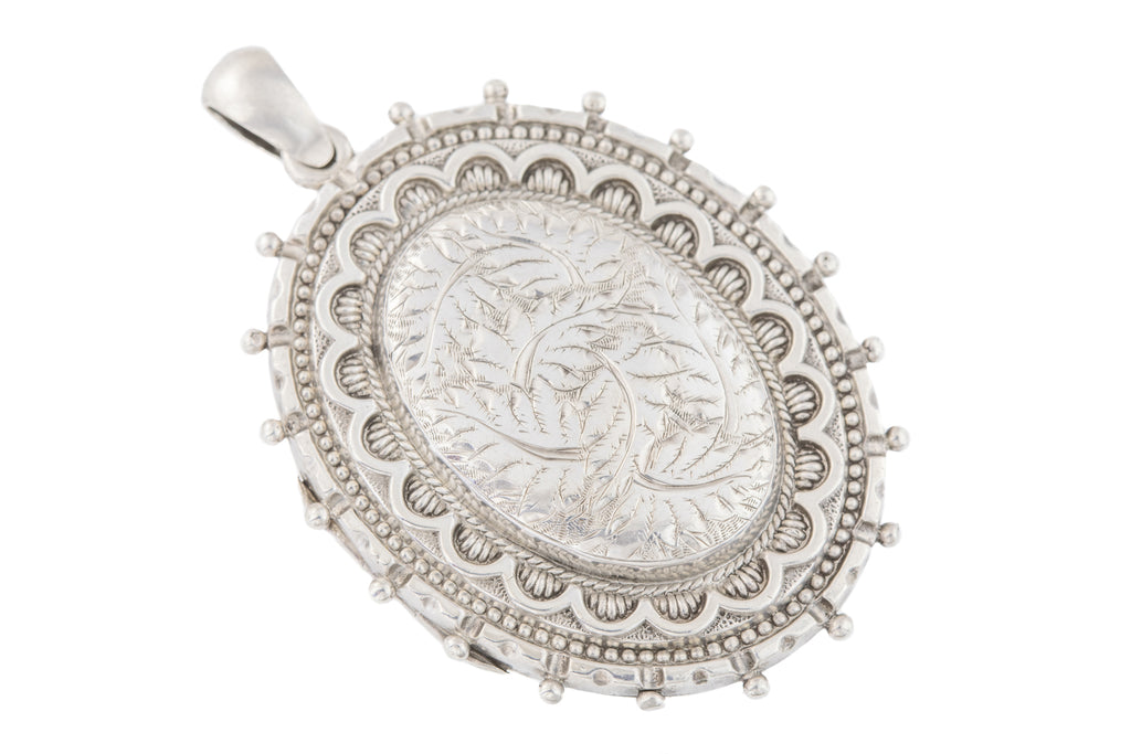 Large Victorian Aesthetic Silver Locket
