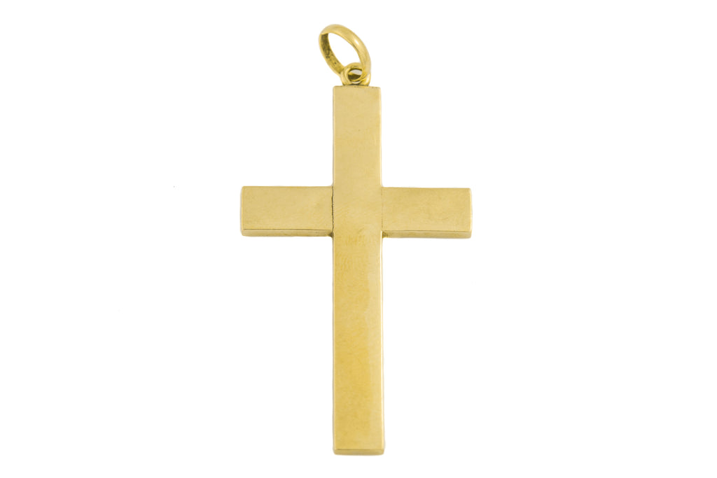 Antique 15ct Gold Black Enamel Cross Pendant