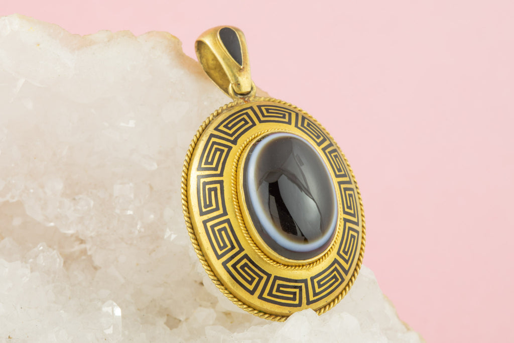 Antique 15ct Gold Banded Agate Pendant