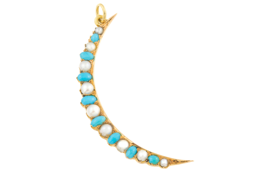 Antique 18ct Gold Turquoise Pearl Crescent Moon Pendant