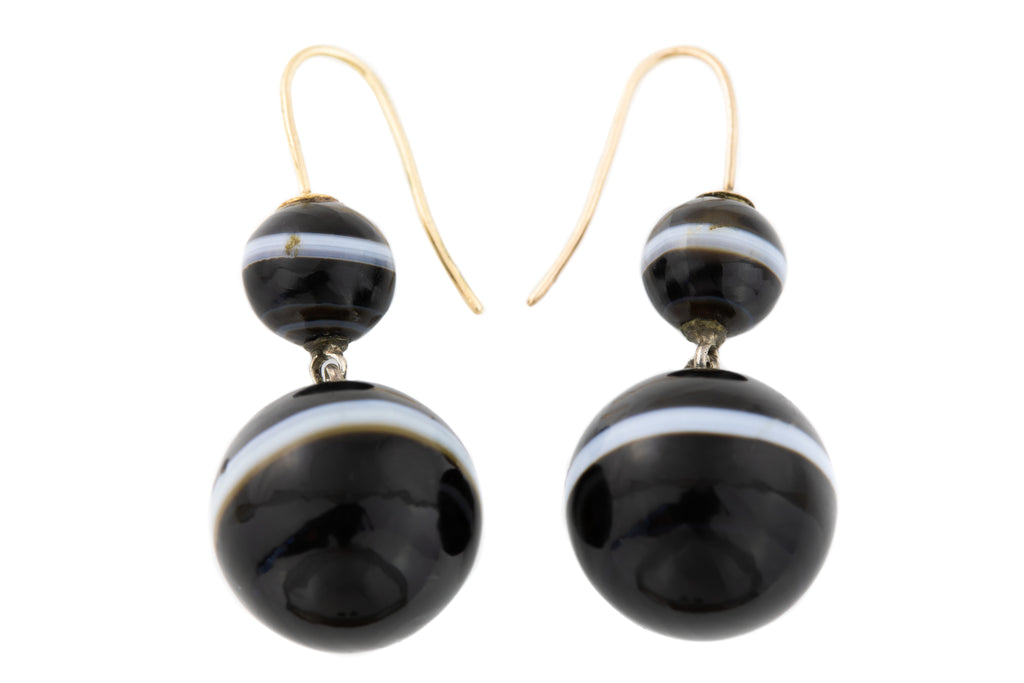 Antique Banded Agate Sphere Drop earrings