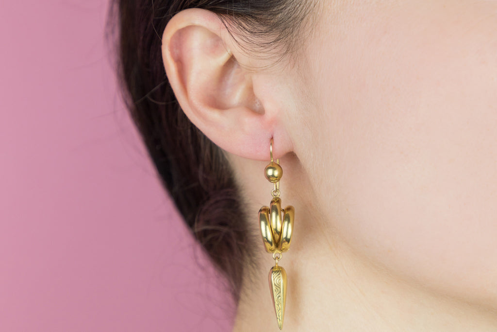Victorian 12ct Gold Etruscan Style Drop Earrings