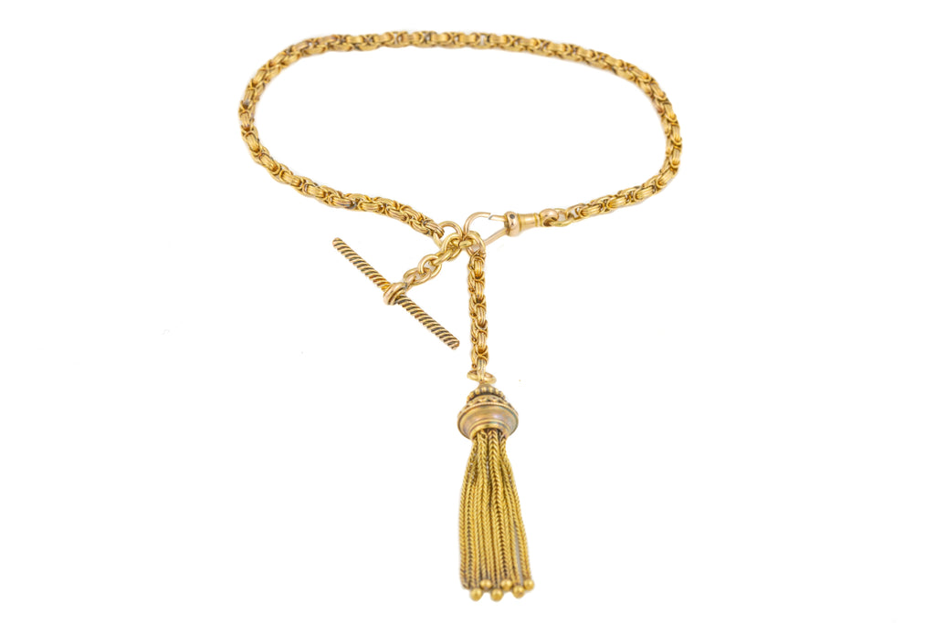 Antique 15ct Gold Albertina Tassel T-Bar Bracelet