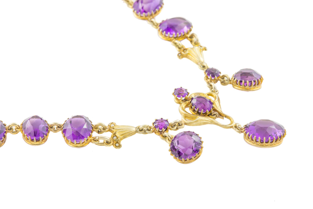 Art Nouveau Amethyst Necklace (21.27ct), 16 &1/4""