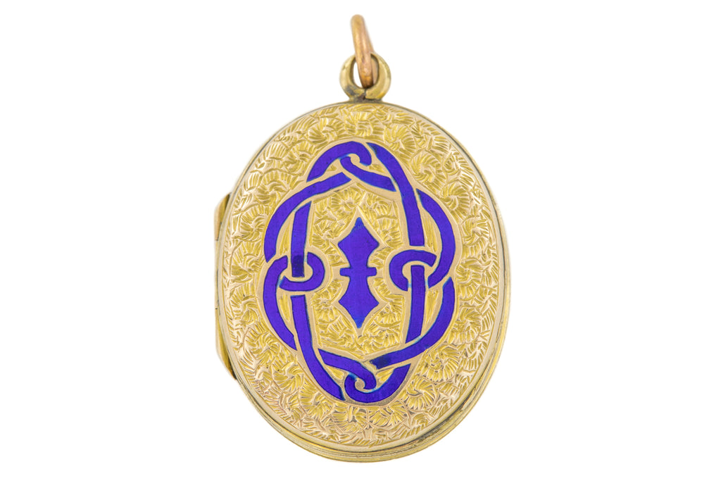 Antique Gold Blue Enamel Locket