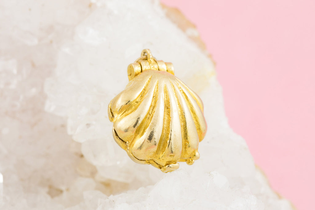 Gold Mermaid in a Shell Charm Pendant