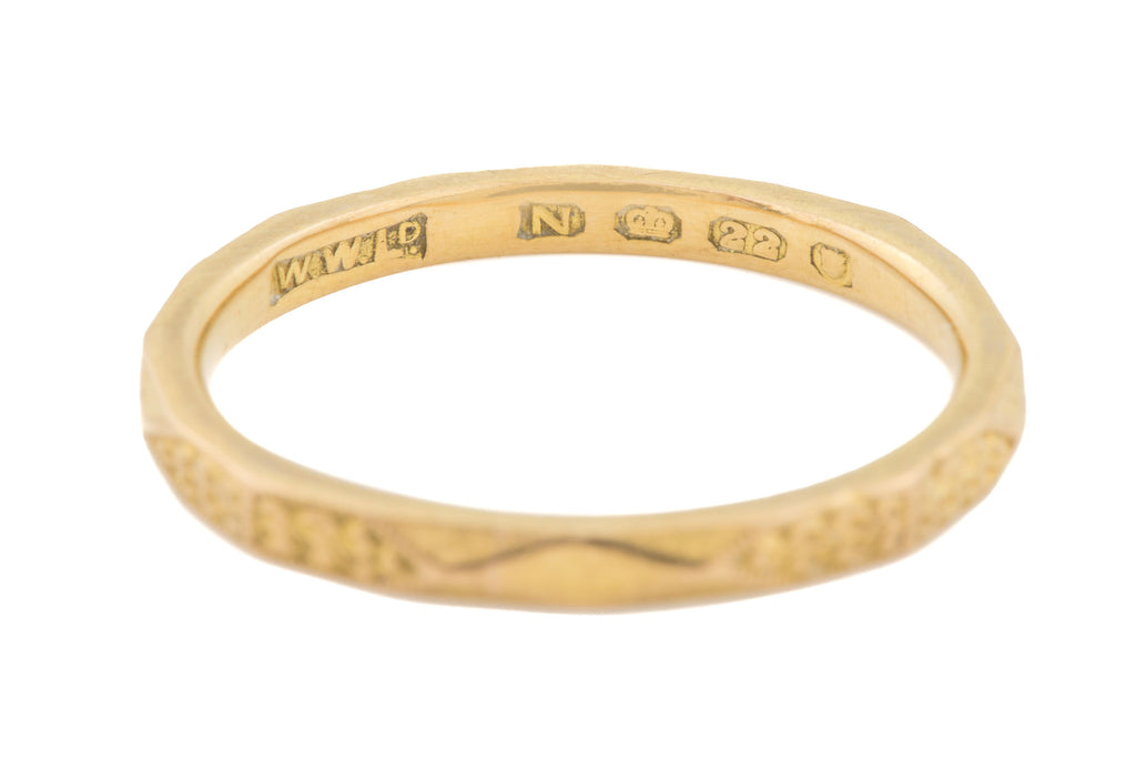 22ct Gold Art Deco Faceted Wedding Band c.1947