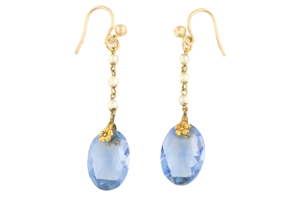 Edwardian Gold Blue Paste Pearl Drop Earrings