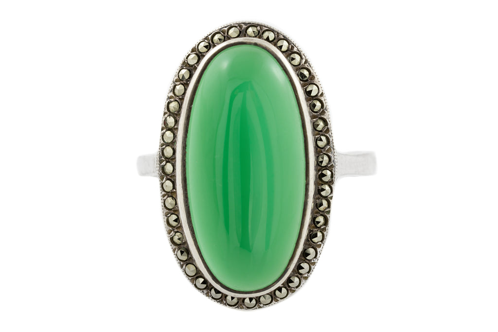 Art Deco Chrysoprase Marcasite Ring