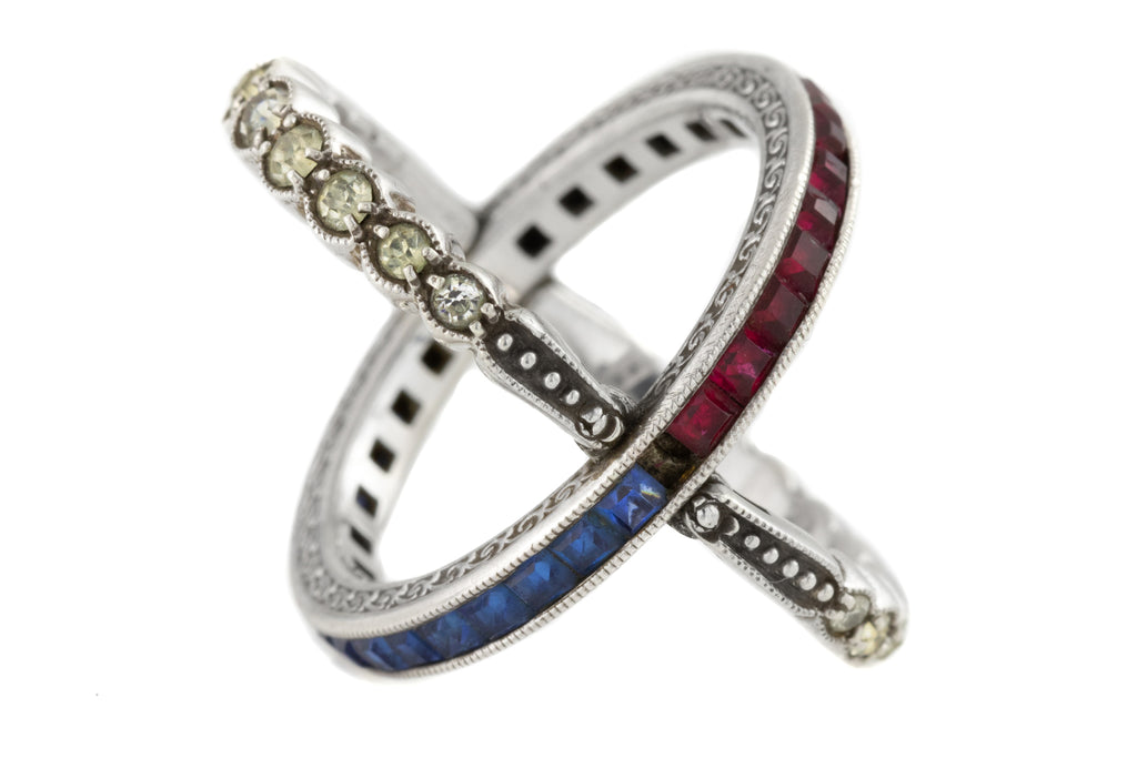 "Art Deco ""Day and Night"" Red White Blue Paste Ring"
