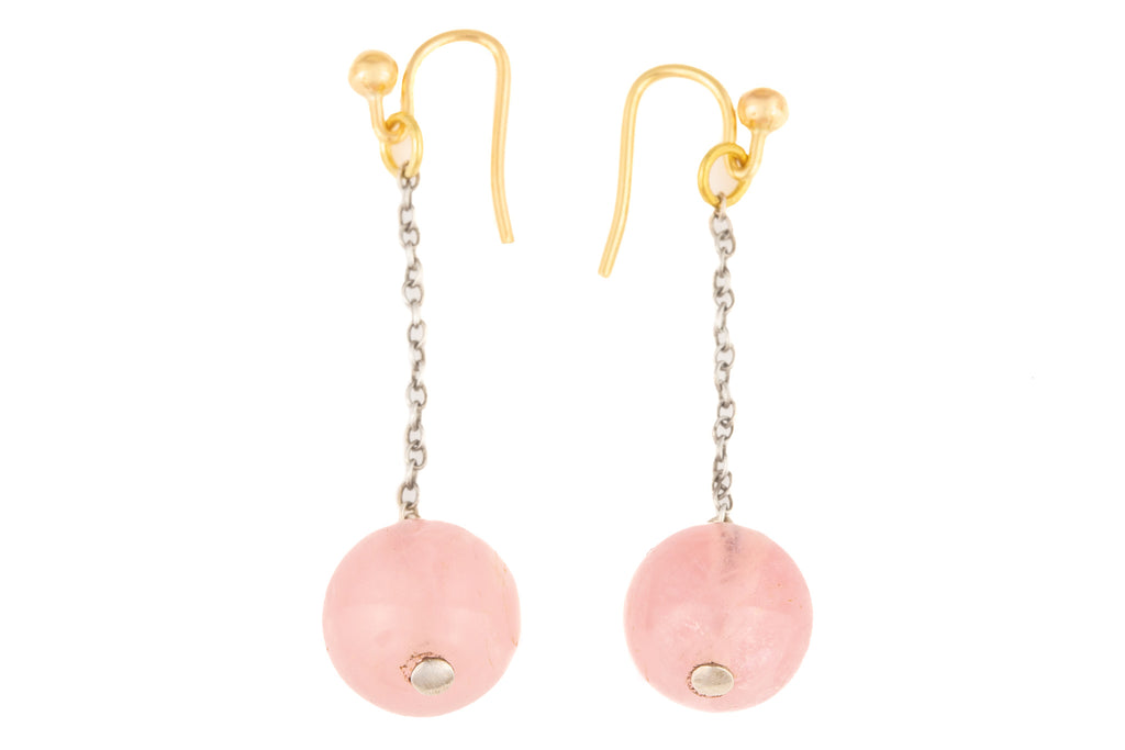 Art Deco Rose Quartz Drop Earrings, with 9ct Gold Hooks
