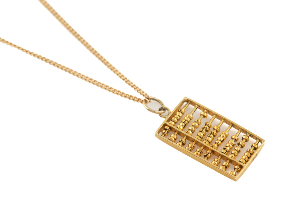 "9ct Gold Abacus Charm, with 16"" Chain"
