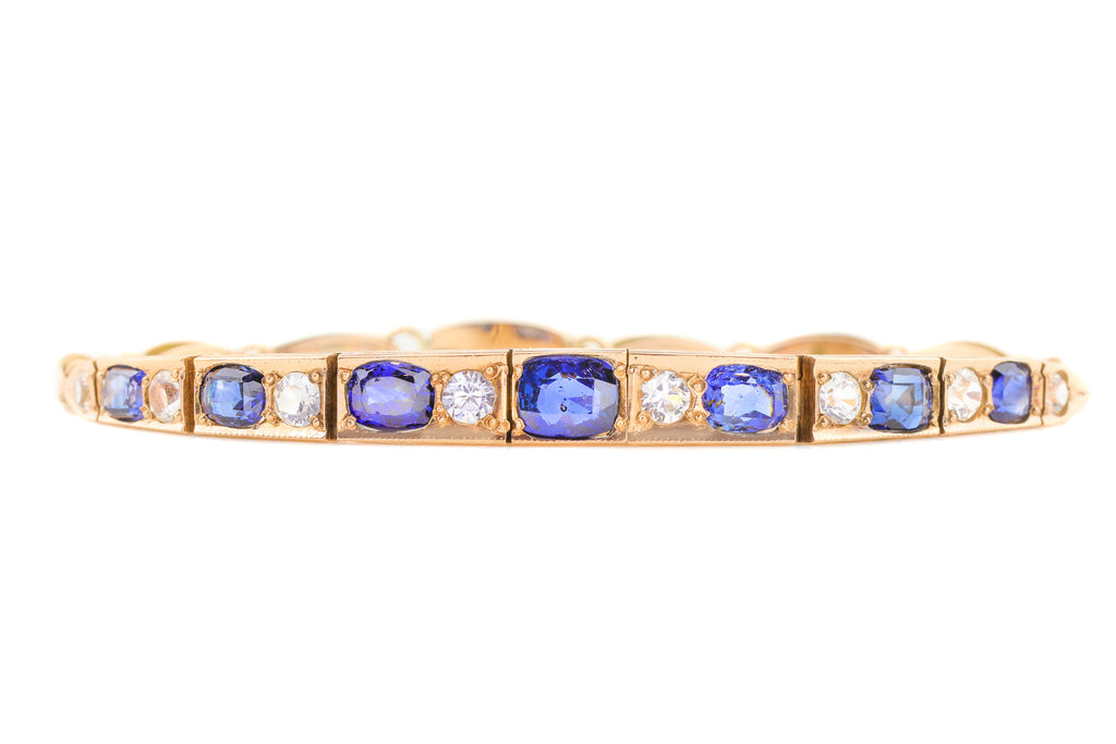 "Art Deco Gold Sapphire Bracelet with Safety Chain, 6 & 1/2"" (4.64ct)"