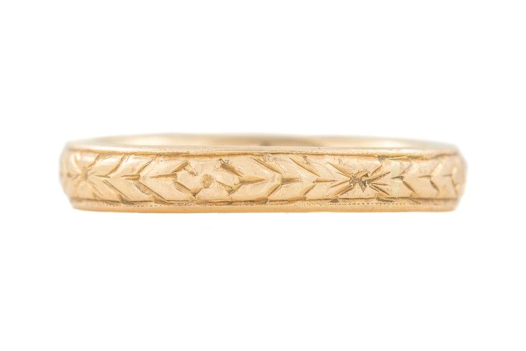 Art Deco Gold Orange Blossom Wedding Band c.1929