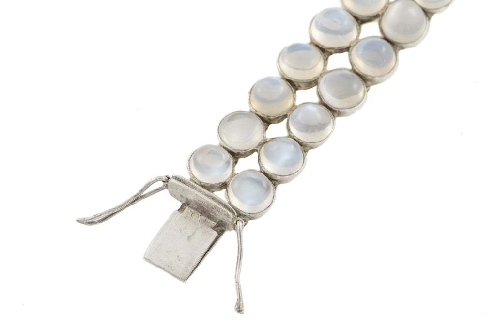 Antique Silver Moonstone Double Row Bracelet (26.26ct)
